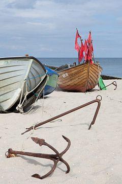 Oostzee - Vissersboten op het strand van Kölpinsee (Usedom) van t.ART