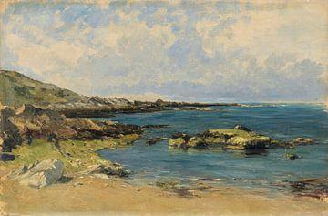 Carlos de Haes-Blaue Meereslandschaft, Meeresriff-Landschaft, Antike Landschaft