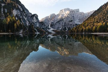 Frühe Morgenreflexion Lago di Braies von Thijs van den Broek