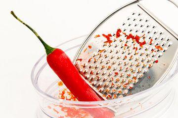Pittige rode peper met schil van