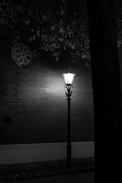 Straatlantaarn in de nacht van Raoul Suermondt