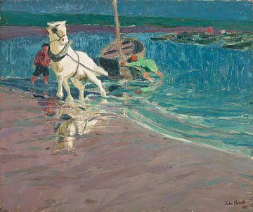 John Noble (Amerikaner, 1874-1934)~Das weiße Pferd (Pferd im Ford)