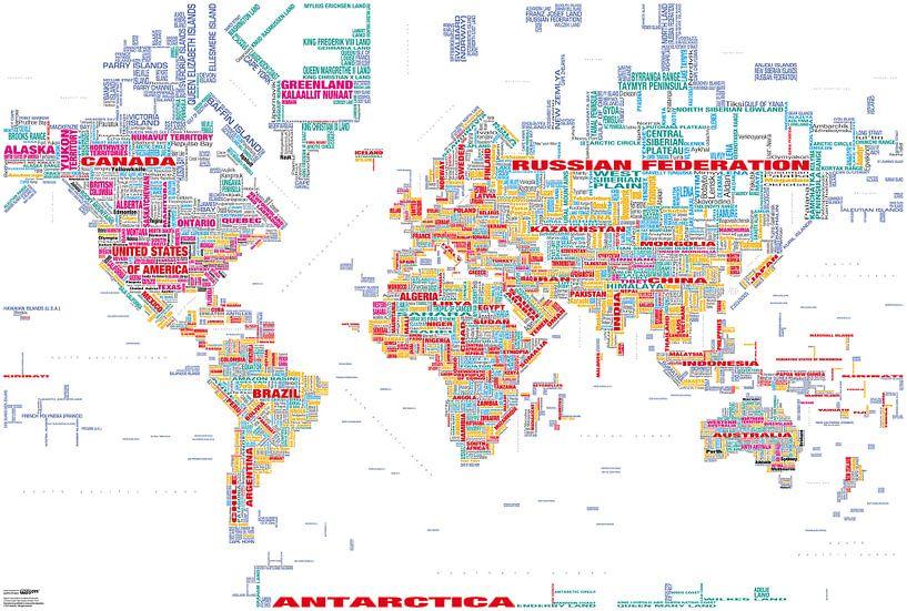Wereldkaart Typografie, Wit en Kleur van MAPOM Geoatlas