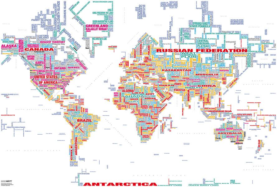 Wereldkaart Typografie, Wit en Kleur