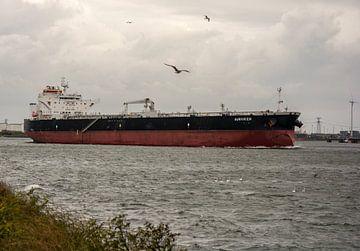 Schip onderweg naar open zee in de haven Rotterdam. van scheepskijkerhavenfotografie