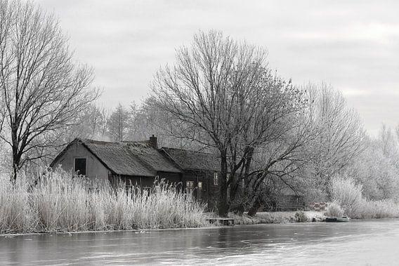 Winter tafereel langs de boezem in Groot Ammers van Jesse de Boom