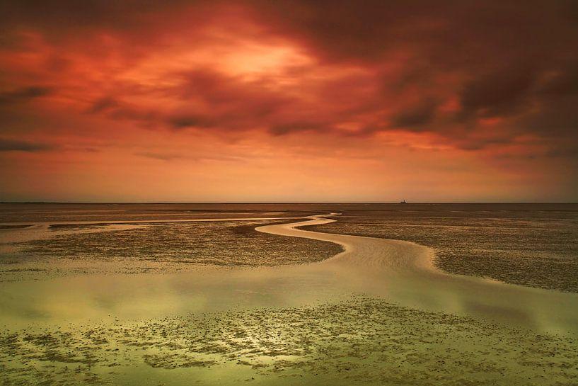 Zonsondergang bij eb in de Waddenzee van Frank Herrmann