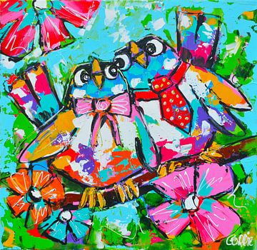 Vrolijke lieve vogels van Vrolijk Schilderij