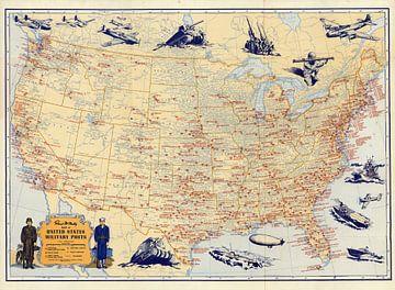 Carte des postes militaires des États-Unis sur World Maps