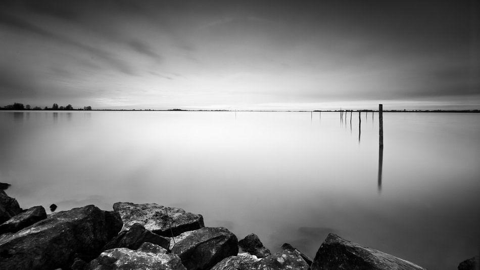 Sunset at Marken - Zwart/Wit van Martijn Kort