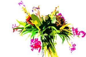 Stilleven van bloemen in een vaas van