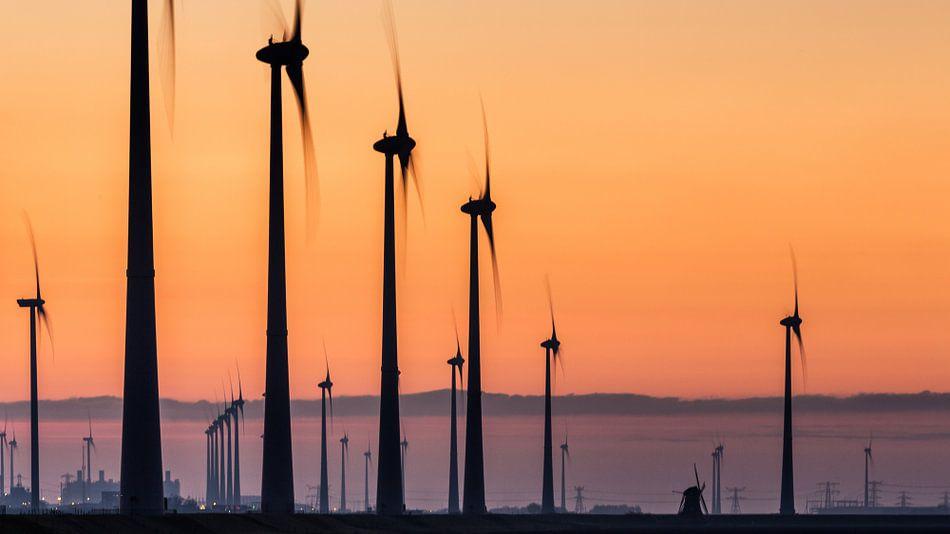 Poldermolen Goliath tussen moderne windturbines - Eemshaven