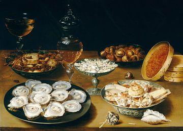 Stillleben mit Austern, Obst und Wein, Osias Beert - ca. 1620