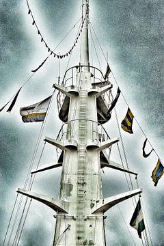 De mast van de SS Rotterdam. van