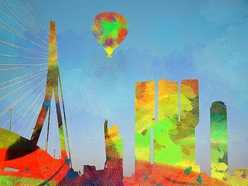 Skyline van Rotterdam in waterverf kleuren van Adriana Zoon