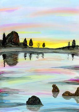 Zonsondergang aan het water van Jolanda Berbee