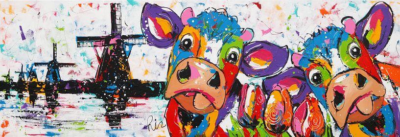 Koe bij Kinderdijk van Vrolijk Schilderij