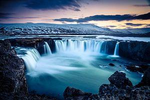 Godafoss, IJsland bij zonsondergang