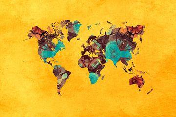 Weltkarte gelb grüne Blumen #Karte von JBJart Justyna Jaszke