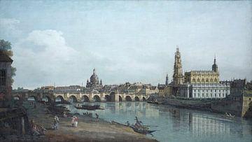 Dresden vom rechten Elbufer aus gesehen, unter der Augustbrücke, Canaletto