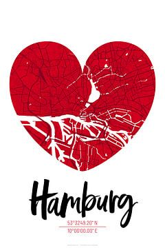 Hamburg – City Map Design Stadtplan Karte (Herz) von ViaMapia