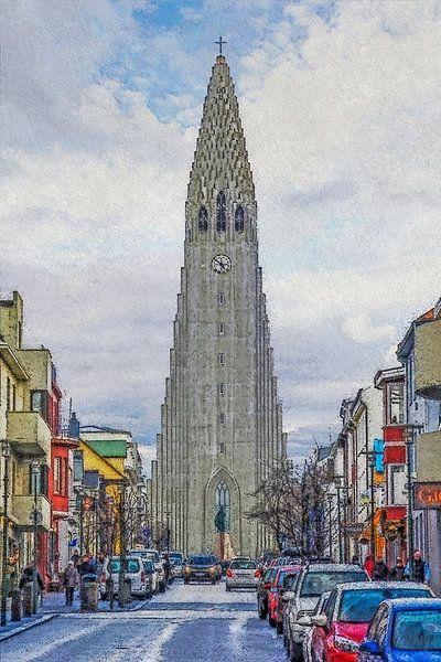 Skólavörðustígur, Reykjavik, IJsland van Frans Blok