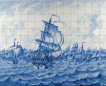 Fliesenplatte mit dem holländischen Schiff Rotterdam und der Heringsflotte
