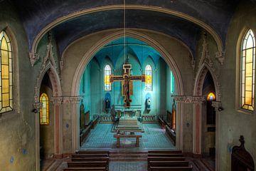Blue church verlaten kerk
