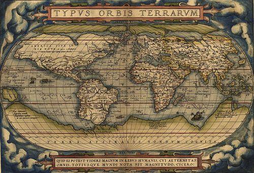 Ortelius World Map Typvs Orbis Terrarvm, 1570. van Meesterlijcke Meesters