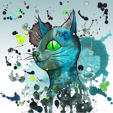 Wilde blauwe grunge kat van Bianca Wisseloo