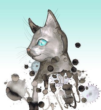 Chat aux yeux bleus sur Bianca Wisseloo