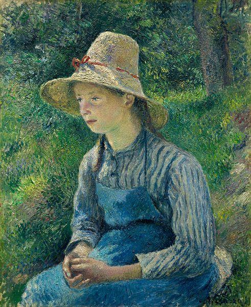 Boeren Meisje met een strooien hoed, Pissarro