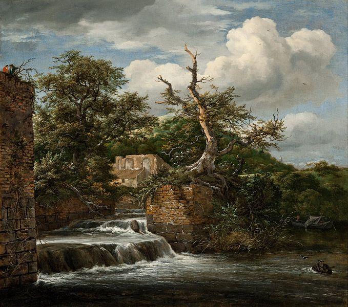 Jacob van Ruisdael - Landschap met een molen en ruïnes van 1000 Schilderijen