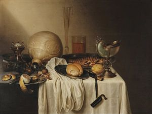 Bankett mit bärtigem Steingutglas, Maerten Boelema de Stomme