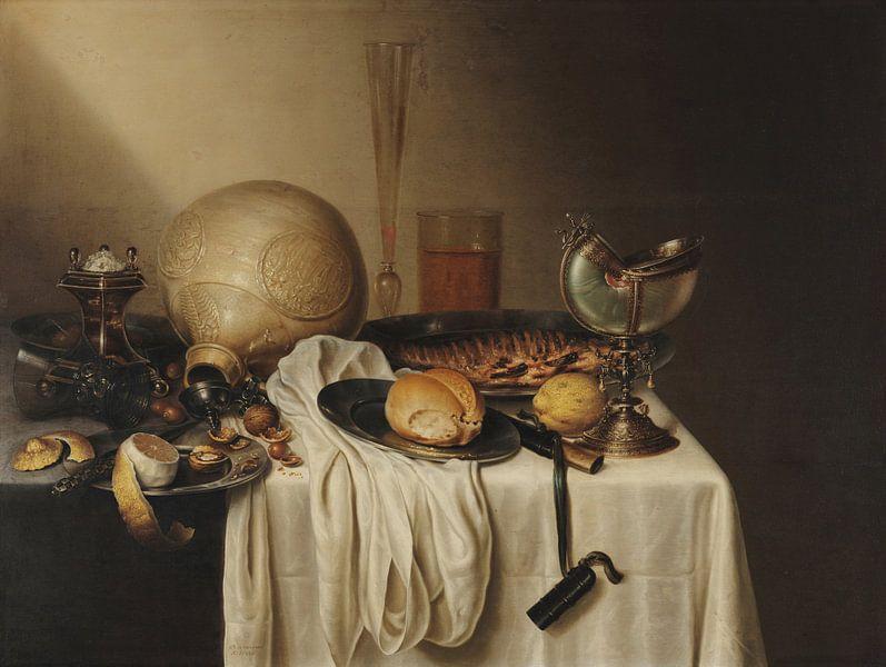Bankett mit bärtigem Steingutglas, Maerten Boelema de Stomme von Meesterlijcke Meesters