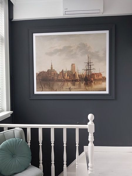 Klantfoto: Gezicht op Dordrecht bij zonsondergang, Aelbert Cuyp, als fotoprint