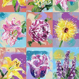 Bouquet de fleurs colorées sur ART Eva Maria