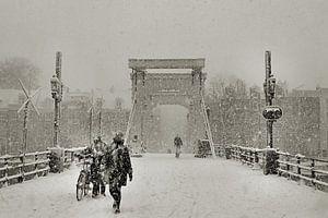 Magere brug in de sneeuw sur Frank de Ridder