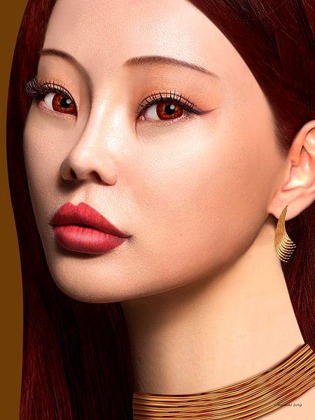 Aziatisch Met Rood Haar - Close Up van Ton van Hummel (Alias HUVANTO)