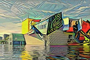 Groninger Museum in de stijl van Picasso van