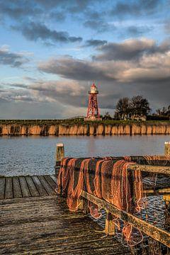 Visnetten  aan de haven van Stavoren in Friesland van Harrie Muis