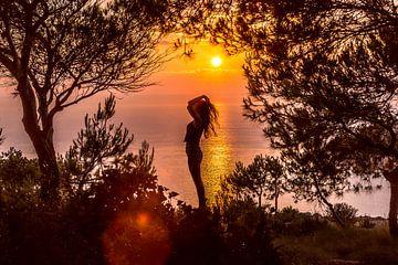 De zonsondergang op het Griekse eiland Zakynthos van Michiel Ton