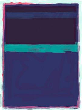 Abstract schilderij in blauwtinten van Rietje Bulthuis