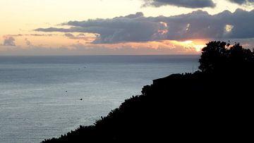 Stark abfallender Hang mit Meer im Hintergrund bei Sonnenuntergang von Hans-Heinrich Runge