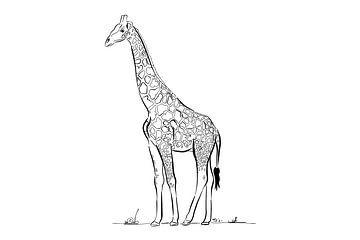 Giraffe schwarze und weiße Linien von Teun Poppelaars