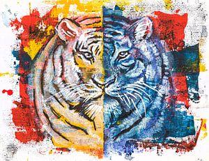 tijger, origineel acryl schilderij van