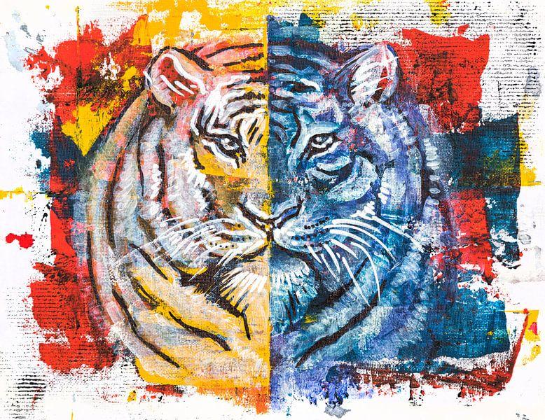 tijger, origineel acryl schilderij van Ariadna de Raadt