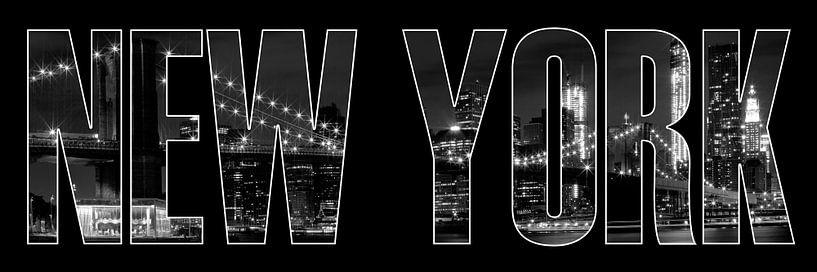 New York City Brooklyn Bridge b/w sur Melanie Viola