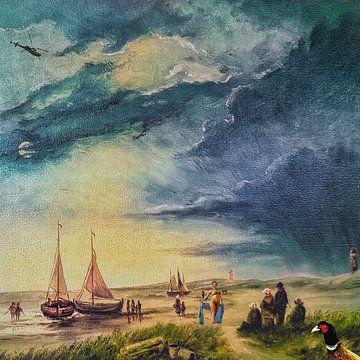 Then she came out of the sea (schilderij van een strand-scène)