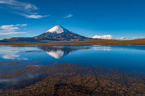 Een Landschap met vulkaan die perfect weerspiegelt in een meer